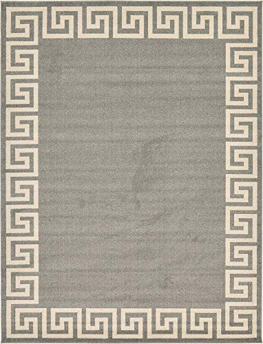 Casual Living Collection - Unique Loom Athens Collection Geometric Casual Modern Border Gray Area Rug (9' 0 x 12' 0)
