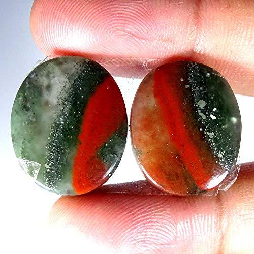 GEMSCREATIONS 100% Natural Designer Blood Stone Oval Pair Cab Loose Gemstone 36.80Cts