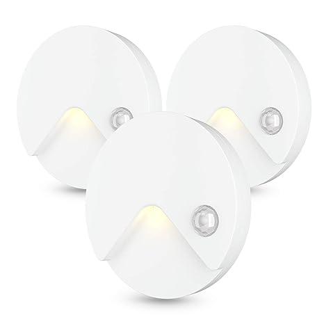TASMOR LED Luz Nocturna con Sensor de Movimiento, LED Lámpara de Noche Inalámbrica 3 Modos de Iluminación con USB Recargable para Pared, 3 Piezas