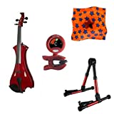 Meisel Electric Violin Pack Red w/Red Stand, Tuner & Star Rosin