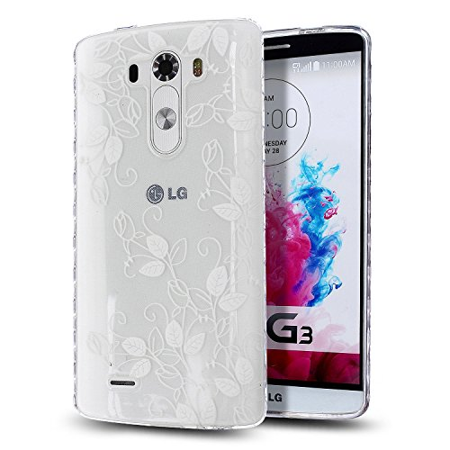 LG G3 Case,LG G3 TPU Case,NSSTAR [Scratch-Proof] Ultra Thin Crystal Clear Rubber Gel Transparent TPU Soft Silicone Bumper Case with Shockproof Protective Case for LG G3,White Flower Leaves