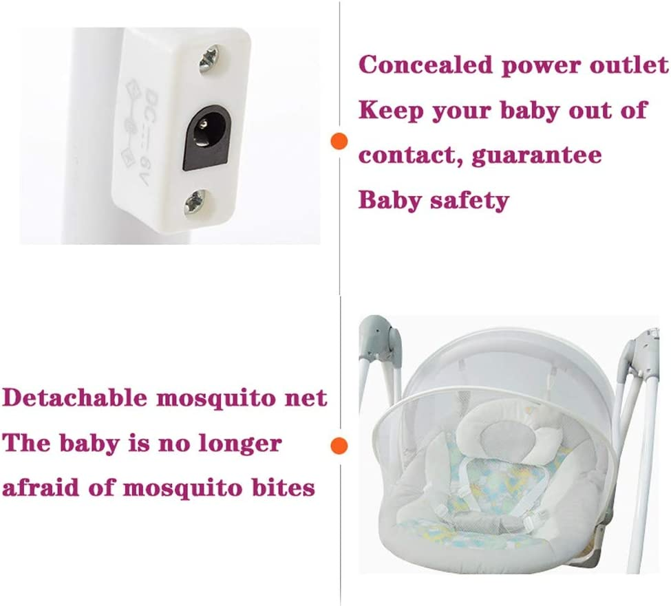 Color : Beige Electric Baby Swing Rocker Seat Bouncers Chair 60 X 56 X 65cm Removable for 0-12 Months New Born Baby Gift