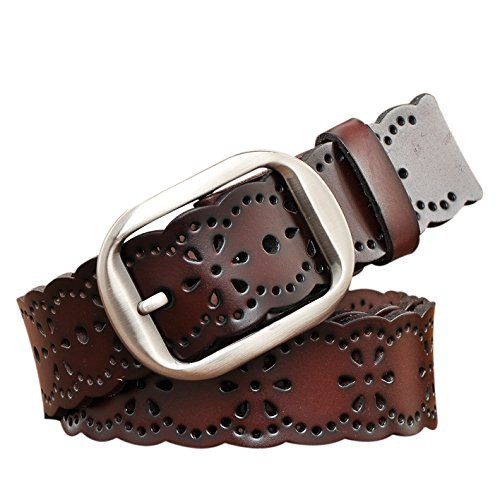 TUNGHO Vintage Womens Hollow Flower Belt Genuine Leather Belts With Needle Buckle Plus Size Nice Gift Box(Dark Brown) ()