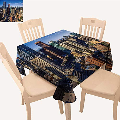UHOO2018 Square/Rectangle Polyester Tablecloth Table Cover Calgary ab aug Downtown Calgary as viewe from The air on a Summer Morn for Dining Room,52x 60 inch (Tables Calgary Dining Room)