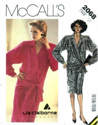 McCall's 2068 Sewing Pattern Liz Claiborne Low Waist Dress Size 10