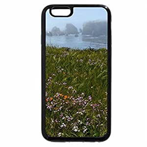 iPhone 6S / iPhone 6 Case (Black) grass and flowers on a rocky misty coast