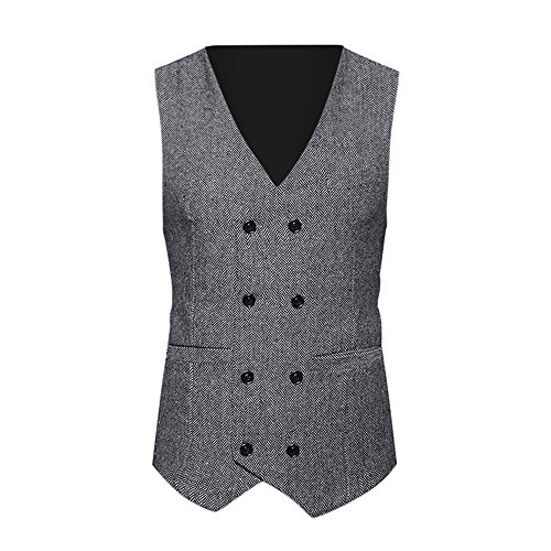 TANGSen Men Formal Tweed Check Vest Double Breasted Casual Waistcoat Retro Slim Fit Formal Stylish Suit Jacket Gray