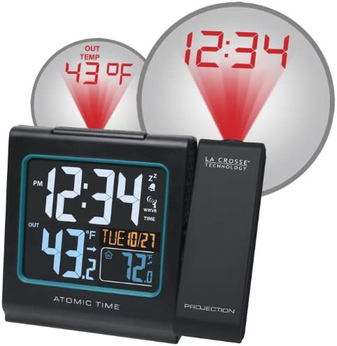 La Crosse Technology 616-146 Color Projection Alarm Clock with Outdoor temperature Charging USB port