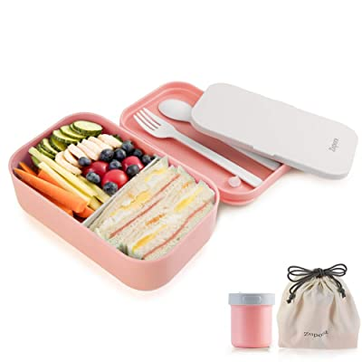 Bento Lunch Box for Adults and Kids, Lunch Box Food Containers 2 Compartments with Sauce Cup, Leakproof BPA Free Microwave Dishwasher Safe (Flatware and Lunch Bag Included), Pink: Kitchen & Dining