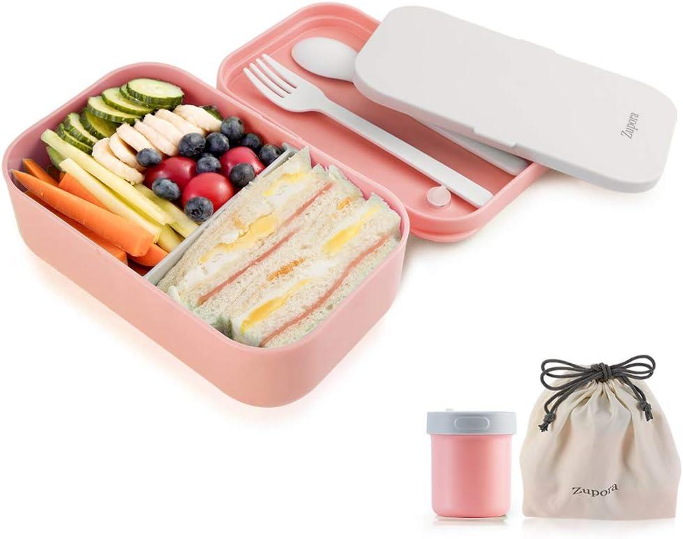 GENICOOK Lunchbox Bento Brotdose con Lunchtasche//Frischhaltedosen vidrio perfecto para Meal Prep BPA y LFGB-Autorizado para la cocina en casa o el uso de viaje 5 * 840 ml