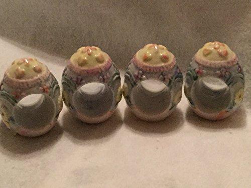 Set of 4 Porcelain Napkin Ring Holders, Egg Shaped Napkin Ri