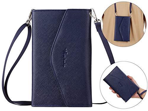 Travelambo Rfid Blocking Passport Holder Wallet & Travel Wallet Envelope 7 Colors (navy blue with neck/wrist strap)
