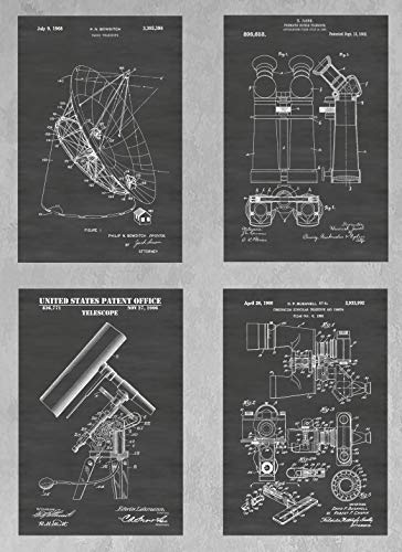 Optical, Radio & Binocular, Wall Decor Collection: Set of Four Patent Print Art Posters: Choose From Multiple Size and Background Color Options ()