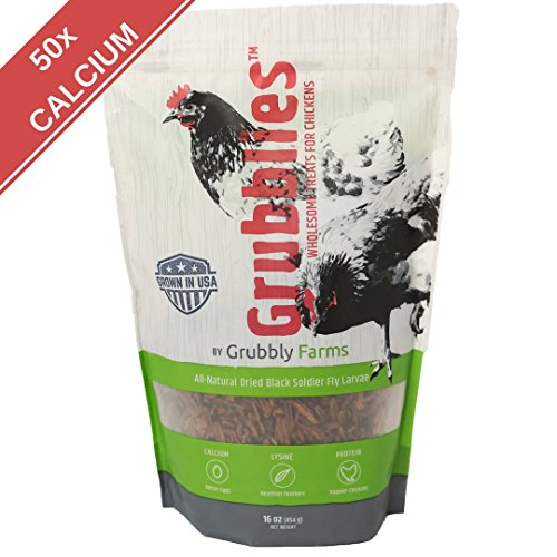 Grubblies - 1 lb. 50x More Calcium than Mealworms, USA-Grown Non-GMO Grubs - a Daily Nutritious Snack to Treat Your Chickens - 100% Natural and Oven-dried for Happy, Healthy Hens (Chicken Treats)