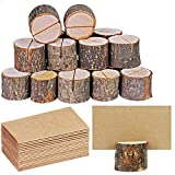 20 Pcs Rustic Wood Place Card Holders Circular Table Numbers Holder Stand Wooden
