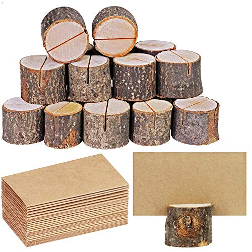 20 Pcs Rustic Wood Place Card Holders Circular Table Numbers Holder Stand Wooden Bark Memo Holder Card Photo Picture Note Clip Holders and Kraft Place Cards Bulk Wedding Party Table Number Sign