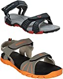 Globalite Men's Casual Outdoor Sandals and Floaters for Boys (Combo Pack of 2)