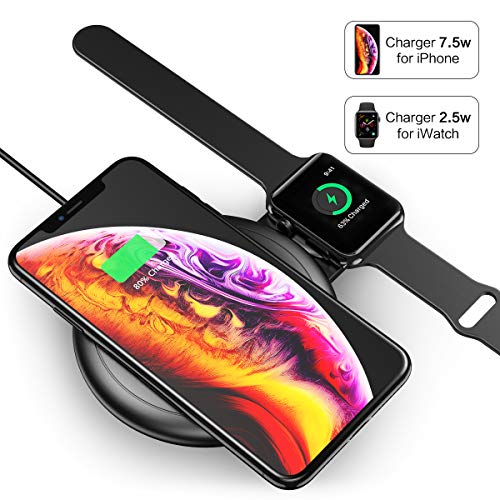 2 in 1 Wireless Charger FLOVEME 10W Wireless Charging Pad Qi Fast Wireless Charging Station Compatible for iWatch Series 1/2/3/4 iPhone Xs Max/XR/X/8 Plus/8 Samsung Note 9/8 and More