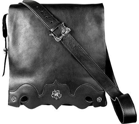 Black Italian Vachetta Leather - Zeyner Black Italian Vachetta Leather Messenger Bag
