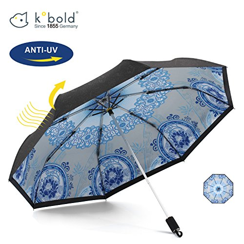 Price comparison product image Kobold Travel Umbrella Green Flower China Style Double Layers Good anti UV Sun Rain Good Feeling Handle