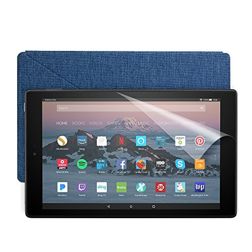 Fire HD 10 Essentials Bundle with Fire HD 10 Tablet (64 GB, Black), Amazon Cover (Marine Blue) and Screen Protector (Clear)