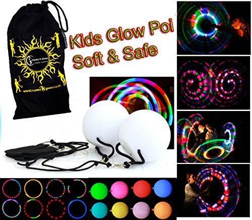 Flames 'N Games Kids LED Glow POI Set + Travel Bag! SOFT & SAFE Light Weight Multi Functioning Glow LED Poi Set (incl.Batteries)