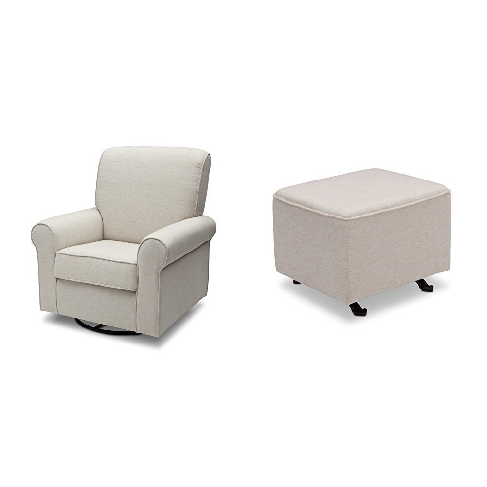 Delta Furniture Avery Upholstered Glider with Gliding Ottoman, Sand by Delta Furniture