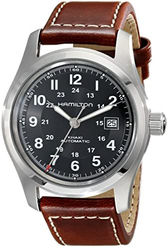 Hamilton Men s H70555533 Khaki Field Stainless Steel Automatic Watch with Brown Leather Band
