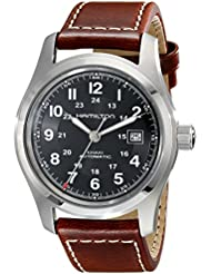Hamilton Mens H70555533 Khaki Field Stainless Steel Automatic Watch with Brown Leather Band