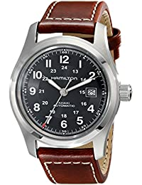 Men's H70555533 Khaki Field Stainless Steel Automatic Watch with Brown Leather Band