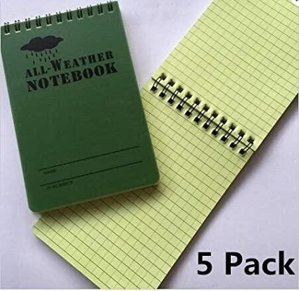 bfb81e96e425 Haiker 5 Pack Small Green Tactical Waterproof All-weather /Shower /Aqua  Notes /Pocket Notebook /Notepad (Size: 5 x 3 inches)