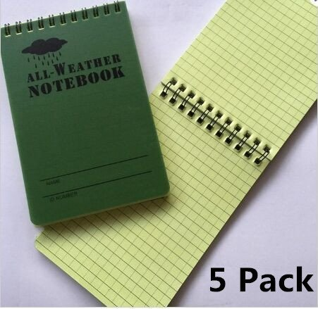 Haiker 5 Pack Small Green Tactical Waterproof All-weather /Shower /Aqua Notes /Pocket Notebook /Notepad (Size: 5 x 3 inches) by Haiker