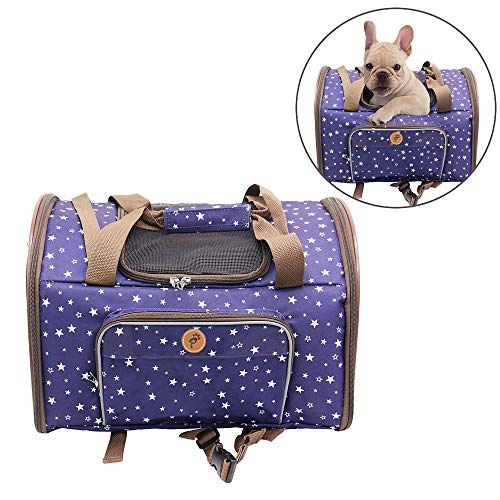 Youxiang Small Pet Carrier Puppy Shoulder Bag Handbag Car Seat Soft Sided Bag Backpack Waterproof Pet Travel Carrier for Medium Dogs and Cats,Blue