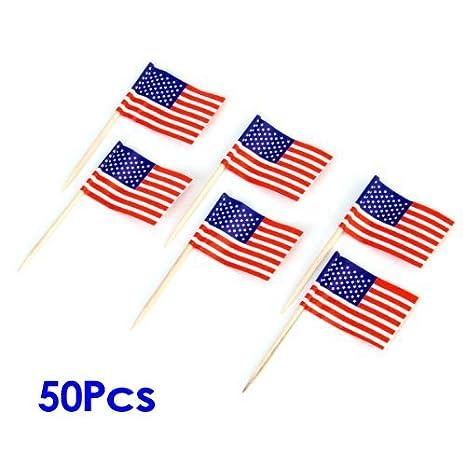 Decoracion de paste - TOOGOO(R) Banderas de americanos 50 pzs Varas de decoracion de pastel para Cupcake: Amazon.es: Hogar