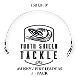 Tooth Shield 5 Pack 130 lb. 8'' Premium Fluorocarbon Musky Leader