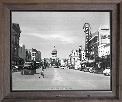 Austin, Texas. State Capitol - 1943 American Vintage Old City Black and White Barnwood Framed Wall Decor Art Print Picture - Inn Downtown Hotel