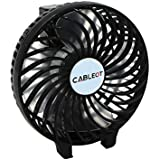 CABLEOT Portable Mini USB Fan Rechargeable 2400mAh Personal Handheld Fan Foldable Battery Operated / USB Powered for Home and Office (Hand Fan Black)