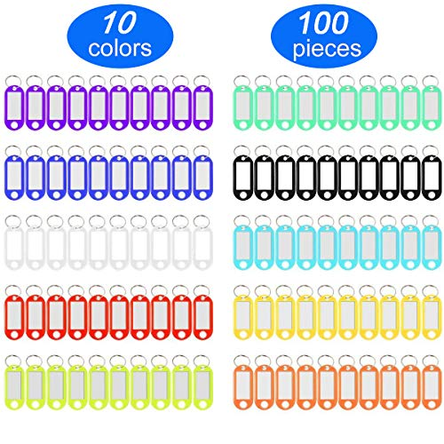 (YUEAON 100 Pack Tough Plastic Key Tags with Label Window ID Luggage tag with Split Ring Key Ring Keychain,10 Colors)