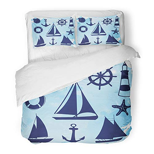 Emvency 3 Piece Duvet Cover Set Brushed Microfiber Fabric Breathable Blue Bow Sailing Ship Yachts with White Sails in The Open Sea Luxury Boats Sign Bedding Set with 2 Pillow Covers Twin Size