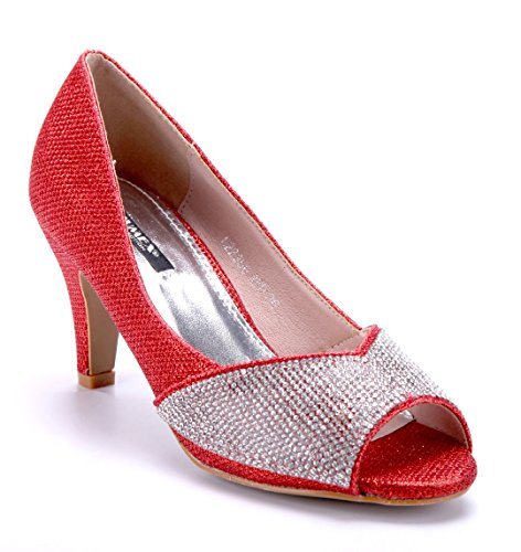 Schuhtempel24 Damen Schuhe Peeptoes Pumps Trichterabsatz Glitzer