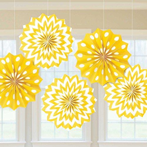 yellow paper fan decor - 7