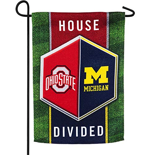 Team Sports America Michigan vs Ohio State House Divided Suede Garden Flag