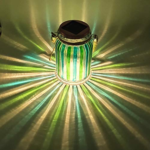 Solar Lantern Jar Lights Glass Ball Table Lamp Green 20 Lumen Bright Mason Jars Outdoor Decorations Tabletop Light Hanging Lanterns Decorative Lamps for Decor Garden Gift