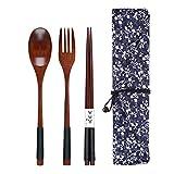Wooden Spoon Fork Chopsticks Set,3PCS Durable Kitchen Cooking Utensil Tool Dinnerware With Cloth Bag (Khaki)