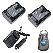 amsahr S-BNVG107-2CT, Pack-2, Digital Replacement Battery Plus Travel Charger for JVC BN: VG107, VG107U-Includes Lens Accessories Pouch (Gray)