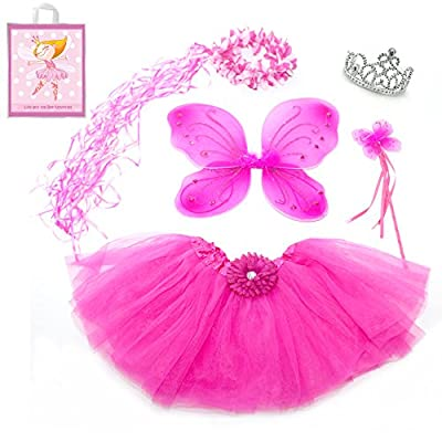 Lilly and the Bee Novelties Sparkle Fairy Princess Costume Set wih Gift Bag (5-Piece)