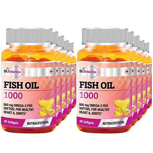 St.Botanica Fish Oil 1000 mg (Double Strength) -600 mg Omega 3 - 60 Softgels- Pack Of 10 by St. Botanica