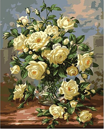 MailingArt Wooden Framed Paint By Number Flowers No Mixing / No Blending Canvas DIY Painting - Classical Flowers (B)