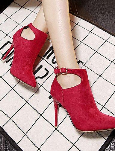 Zapatos Tacón Rojo us5 Eu35 Eu39 Gris us8 Cn39 Uk3 Negro Puntiagudos Xzz Tacones De Cn34 Mujer Stiletto Black Uk6 Vestido Gray Botas Vellón qCwdPtH