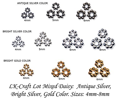 Gold Plated Silver Spacer - LK-CRAFTS Wholesale Lot 1400pcs Antique Silver - Silver - Gold Plated Daisy Spacer Mixed 4mm 5mm 6mm 8mm with storage box.